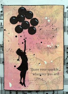 – Banksy girl floating with balloons. Made by Chook - Corrie Herriman - Stampotique Designer Las Vegas, Gelli Plate Printing, Elements And Principles, Gelatine, Artist Trading Cards, Baby Design, Banksy, Kids Cards, White Ink