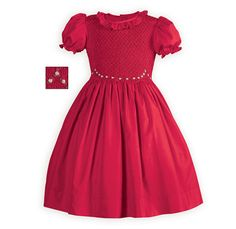 Crimson Smocked Dress Sweet slightly raised-waist dress in ultra soft poly silk. Traditionally hand-smocked bodice with embroidered ivory rose swag design accenting waistli Girls Special Occasion Dresses, Dresses For Tweens, Girls Christmas Dresses, Holiday Party Dresses, Girls Dresses, Christmas Outfits, Smocking, Best Cocktail Dresses, Different Dresses