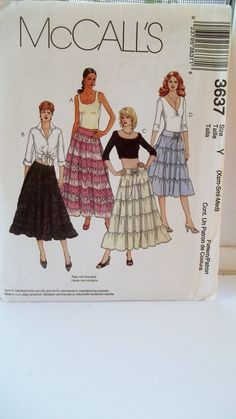 08a0c9531d078 Items similar to Misses  Tiered Gypsy Skirts McCall s 3637 Sewing Pattern  Boho Flared Fashion Skirt in 2 Lengths