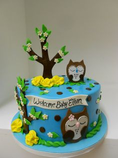 Adorable Owl Baby Shower cake