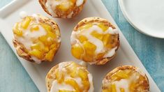 Welcome warm weather months with the ultimate twist on fan-favorite peach pie with these irresistible dessert cups made with Pillsbury™ cinnamon rolls and peach pie filling. Pillsbury Cinnamon Rolls, Pillsbury Recipes, Just Desserts, Delicious Desserts, Dessert Recipes, Spring Desserts, Breakfast Recipes, Bbq Desserts, Delicious Dishes
