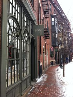 Charles Street Boston.  Beacon Hill conservatively historic with very colonial palette, muted, grayed, black, classic