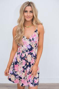 Floral Print Fit & Flare Dress - Navy Multi - FINAL SALE