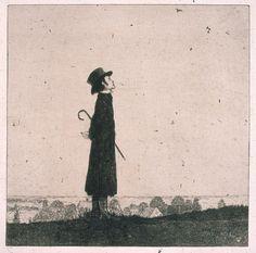 """Heinrich Vogeler, """"Die Lerche"""" (Selbstbildnis), Radierung aus der Mappe""""An den Frühling"""", erschienen 1899 im Insel-Verlag"""