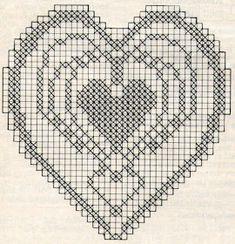 Crochet Tablecloth Pattern, Filet Crochet Charts, Crotchet Patterns, Crochet Blocks, Cross Stitch Heart, Diagram, Valentines, Knitting, Crafts
