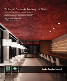 Customizable Techstyle® Canvas Acoustical #Ceiling panels offer an unprecedented range of color and surface-pattern choices. Innovative production processes let architects and designers create the exact look they want while maintaining good acoustical performance.  #architecture