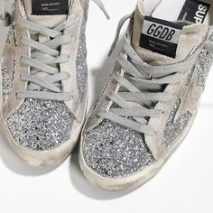 GGDB Golden Goose Superstar All Over Glitter Suede Silver Moon Womens