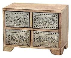 Boîte SAWADE bois de manguier et métal, naturel et argenté - L25