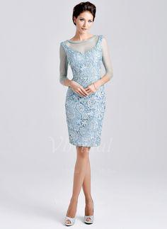 Kleider für die Brautmutter - $146.71 - Etui-Linie U-Ausschnitt Knielang Satin Tüll Kleid für die Brautmutter mit Spitze Perlen verziert Applikationen Spitze (0085059601)