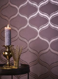 Glamour wallpaper Hulda in dark rosewood with a shimmering ornament pattern exudes magical romanticism, inspired by the Royal Palace in Casablanca. Wallpaper Direct, Wallpaper Samples, Wallpaper Online, Print Wallpaper, Pattern Wallpaper, Casablanca, Glamour Wallpaper, Purple Wallpaper, Application Pattern