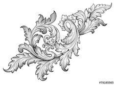 Вектор: Vintage baroque frame scroll ornament vector