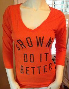 Victoria's Secret Pink NFL Cleveland Browns do It Better V Neck Tee Shirt XS | eBay