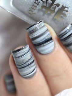 Fifty shades of Grey dry marble nail art tutorial. Nail Art Designs, Marble Nail Designs, Marble Nail Art, Simple Nail Designs, Nails Design, Gray Marble, Shellac Colors, Nail Colors, Grey Makeup