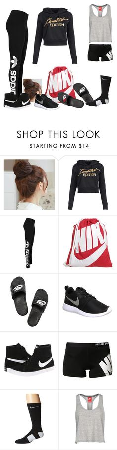 """High school volleyball practice days!!"" by jazz13-896 ❤ liked on Polyvore featuring Pin Show, adidas Originals and NIKE"