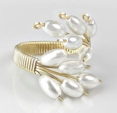 White Cultured Pearl and Gold Adjustable Cocktail Ring