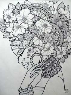 Free printable adult coloring pages- lady Coloring Book Pages, Printable Coloring Pages, Dibujos Zentangle Art, Zentangles, Colorful Pictures, African Art, Doodle Art, Line Art, Art Drawings