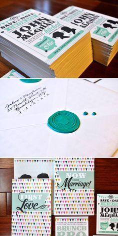 green + black wedding invitation set / [images from Christa Kimble and Meghan Hopkins] #stationary #print