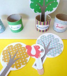 Pour apprendre aux enfants à se repérer dans le temps, rien de mieux qu'un semainier home made ! Les enfants vont adorer déplacer le petit écureuil d'arbre en arbre. Tiens, on est mercr…