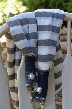Gorgeous Grey & White Striped Strap by LivingInMonument on Etsy