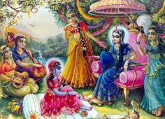 "Krishna in disguise to get close to Radharani. ""Because He is the leader and Supreme Being amongst innumerable living beings, He cannot be impersonal. He is exactly like us, and He has all the propensities of an individual living being in fullness."""