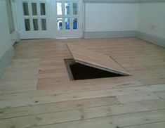 Trap door to crawl space Crawl Space Door, Wood Floor Installation, Basement Doors, Secret Hiding Places, Trap Door, Safe Room, Attic Conversion, Secret Rooms, Houses