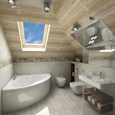 A corner bath sits directly beneath a large skylight in this bathroom, with a toilet and bidet in the adjacent corner. The ceiling is angled and there is a vein of square tile acting as a defining line between the walls and ceiling. A floating sink sits to the right of the toilet area and features a wooden stained shelf below for storage.