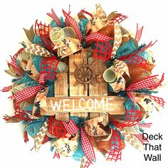 Rustic Beach Welcome Mesh Wreath