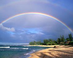 Seashore | Download Sand And Sea wallpaper, 'rainbow over seashore'.