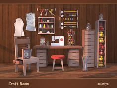 Everything you need for your craft room. The set includes 18 objects. 3 color palettes, 3-6 colors for each object. Items in the set: Found in TSR Category 'Sims 4 Miscellaneous Sets'