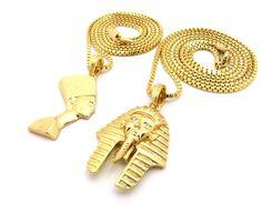 Egyptian King Akhenaten Queen Nefertiti Pendant Chain - Bling Jewelz