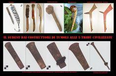 I popoli del sudest erano molto bellicosi. I guerrieri avevano un ricco corredo d'armi. Il combattimento a corpo a corpo con la mazza da guerra era il preferito in quanto dava risalto al coraggio del guerriero. I coltelli e le scuri potevano essere sia armi che attrezzi; le mazze erano invece usate solo per moti bellici, vi erano anche delle mazze e lame per uso cerimoniale. I reperti qui esposti sono di vari tipi e provenienze diverse.