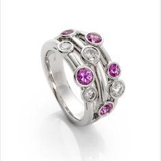 Diamond and pink sapphire three strand band by Helen Hulston