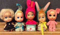 Lot of 5 Vintage Liddle Kiddles by Mattel, 1960's Liddle Kiddles, Miniature Barbie, Animiddle Kiddles, Liddle Baby Kiddles, Holiday Kiddles