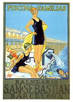 "Girl Swim Pool San Sebastian Barcelona Spain Fashion Vintage Poster Repro 12""X16 