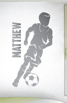 Custom Name Boys Soccer Decal  0273  Personalized Boys Soccer Wall Decal    Soccer Theme