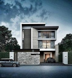 55 Awesome Home Exterior Design Ideas. You can fix your home exterior design even if you do not have much money. In this article I am going to talk about the ways to improve your home exterior design. Villa Design, Facade Design, House Front Design, Tiny House Design, Modern House Design, Architecture Renovation, Architecture Design, Amazing Architecture, Architecture Facts