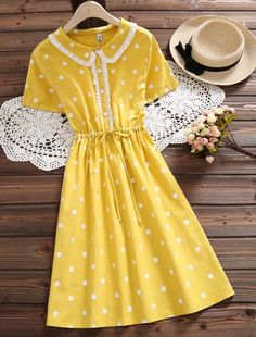 Peter Pan Collar Print Dress In Yellow – MindySize Dressy Tops, Vintage Outfits, Vintage Dresses, Peter Pan Collar Dress, Layering Outfits, Lovely Dresses, Lace Sleeves, Fashion Boutique, Casual Dresses
