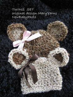 TWINS Teddy Bear HAT in  Brown Creamy Baby Photo prop - Photography Session Newborn Infant Girl Boy all Babies