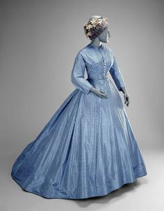Checked silk day dress, ca. 1865 | In the Swan's Shadow