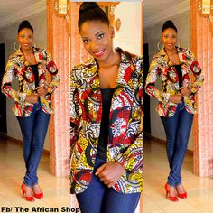 Nganu Blazer from The African Shop. Check out their designs on Etsy African Inspired Clothing, African Print Fashion, Africa Fashion, Fashion Prints, Women's Fashion, African Prints, Fashion Styles, African Attire, African Wear
