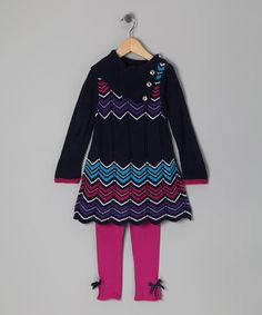 Take a look at this Navy Zigzag Tunic & Leggings - Infant, Toddler & Girls by Play Away: Infant & Kids' Sets on #zulily today!