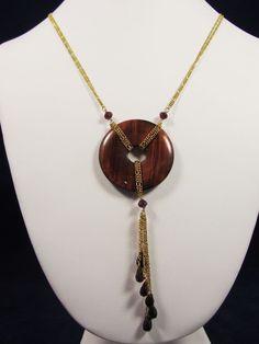 Vintage 1990s .925 Sterling Lariat Necklace Gold Vermeil Garnet Red Tiger's Eye #Unbranded #Lariat
