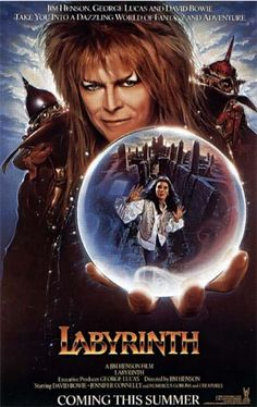 With Jim Henson, David Bowie, Charles Augins, Brian Henson. A behind-the-scenes look at the David Bowie film Labyrinth also featuring director Jim Henson and co-star Jennifer Connelly. Movie Posters, Goblin King, Movies, Labyrinth Movie Poster, Favorite Movies, Film, 80s Movies, Love Movie, Creepy Kids