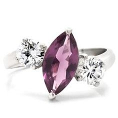 2 Carat Sterling Silver Amethyst CZ Cocktail Ring Sz 5,6,7,8,9,10