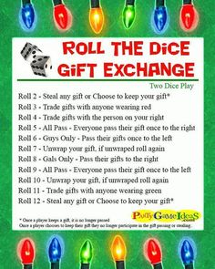 Fun and Easy Dice Gift Exchange for Holiday Parties www.giftideascorn… Fun and Easy Dice Gift Exchange for Holiday Parties www. Christmas Gift Exchange Games, Xmas Games, Holiday Games, Gift Games For Christmas, Fun Gift Exchange Ideas, Christmas Party Ideas For Adults, Office Christmas Party Games, Christmas Party Games For Kids, Holiday Fun