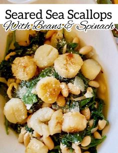 Looking for something different for dinner tonight? How about seared sea scallops with beans and spinach? This dish combines three highly nutritious foods into one meal, and it is absolutely delicious #Seafood #Beans #Spinach #EasyDinners Nutritious Meals, Healthy Fats, Healthy Recipes, Something Different For Dinner, Sea Scallops, Balanced Meals, Dried Beans, Dinner Tonight, Food Print