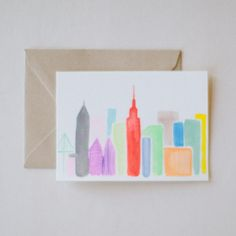 Skyline Card Set - Charlotte Lane - The Manhattan skyline at its brightest. For our fellow New Yorkers or city lovers everywhere. Set of 8, $28