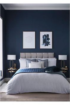 Blue Master Bedroom, Blue Bedroom Decor, Bedroom Wall Colors, Bedroom Color Schemes, Room Ideas Bedroom, Home Bedroom, Modern Bedroom, Blue Feature Wall Bedroom, Midnight Blue Bedroom