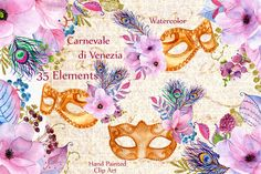 Posted by @newkoko2020 Watercolor masks and flowers clipart by LeCoqDesign on @creativemarket