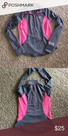 Hollister zip up 1/4 zip, excellent condition, thumb holes Hollister Jackets & Coats